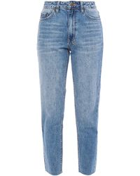 Ksubi Cropped Embroidered High-rise Slim-leg Jeans Light Denim - Blue