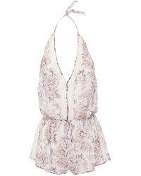 Cosabella Eleganza Floral-print Chiffon Halterneck Playsuit - Multicolour