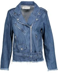 Marques'Almeida Woman Frayed Denim Biker Jacket Mid Denim - Blue