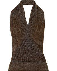 Missoni Metallic Ribbed Crochet-knit Halterneck Top