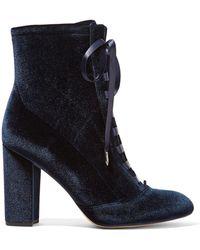 Sam Edelman - Clementine Lace-up Velvet Ankle Boots - Lyst