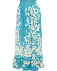 RED Valentino Printed Silk Crepe De Chine Midi Wrap Skirt - Blue