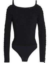 Elie Tahari - Lace-up Ribbed-knit Bodysuit - Lyst