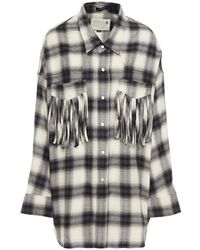 R13 Fringed Checked Cotton-flannel Shirt - Grey