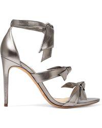 Alexandre Birman - Lolita Bow-embellished Metallic Leather Sandals - Lyst