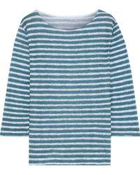 Majestic Filatures Striped Slub Linen-jersey Top Teal - Blue