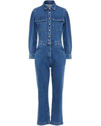 DL1961 Freja Cropped Denim Jumpsuit - Blue