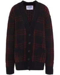 RE/DONE 90s Oversized Checked Jacquard-knit Cardigan - Black