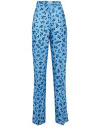 Vivetta Floral-print Twill Straight-leg Pants Light Blue