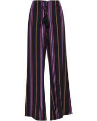Figue Simone Tasselled Striped Silk Wide-leg Trousers - Black