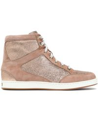 Jimmy Choo - Glittered Suede High-top Trainers - Lyst