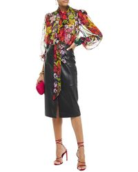 Dundas Pussy-bow Printed Silk-voile Blouse - Black