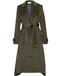 Victoria Beckham Belted Pleated Wool And Alpaca-blend Coat Army Green