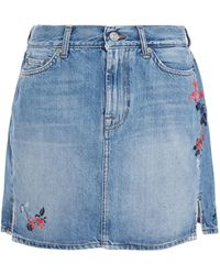 7 For All Mankind 7 For All Kind Embroidered Denim Mini Skirt - Blue