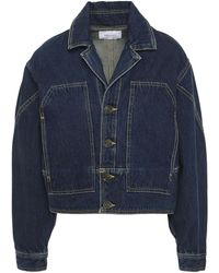 Current/Elliott The Brit Denim Jacket Dark Denim - Blue