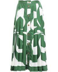 Victoria Beckham Pleated Printed Silk-satin Twill Midi Skirt - Green