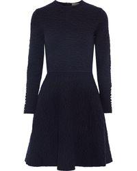 Lela Rose Flared Faux Pearl-embellished Cloqué-knit Mini Dress Navy - Blue