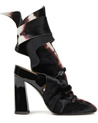 Acne Studios Printed Calf Hair And Patent-leather Ankle Boots - Black