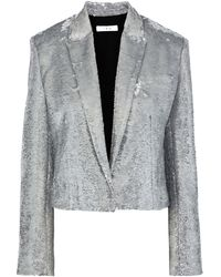 IRO Napli Cropped Sequined Cotton Blazer Silver - Metallic