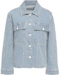 FRAME Striped Denim Jacket Light Blue