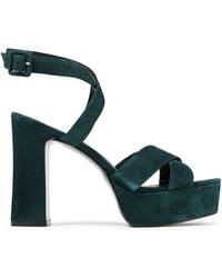 Reformation Suede Platform Sandals - Green