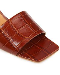 Ganni Smooth And Croc-effect Leather Sandals - Brown