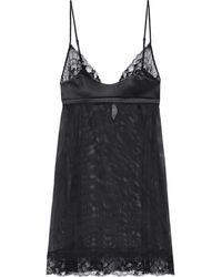 La Perla Nachthemd aus stretch-tüll mit satin- und spitzenbesatz - Schwarz