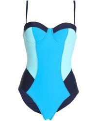 Diane von Furstenberg - Color-block Swimsuit Midnight Blue - Lyst