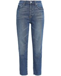 7 For All Mankind - Edie Cropped Two-tone High-rise Straight-leg Jeans - Lyst