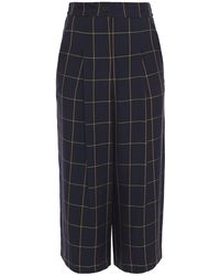 McQ Cropped Pleated Checked Twill Wide-leg Pants Midnight Blue