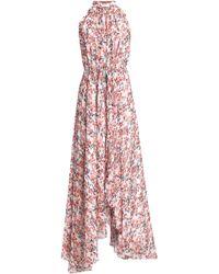 Saloni - Belted Asymmetric Printed Silk-georgette Maxi Dress - Lyst