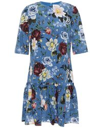 Erdem Emmie Gathered Floral-print Silk Crepe De Chine Mini Dress Blue