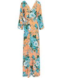 Diane von Furstenberg - Woman Floral-print Silk Crepe De Chine Maxi Wrap Dress Pastel Orange - Lyst