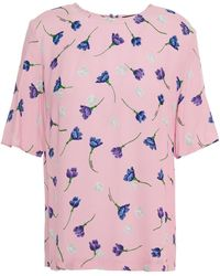 Markus Lupfer Josie Floral-print Crepe De Chine Top - Pink