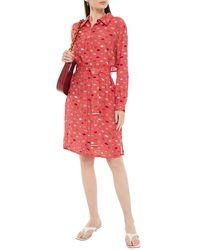 Markus Lupfer Rosalie Belted Printed Crepe De Chine Shirt Dress - Red