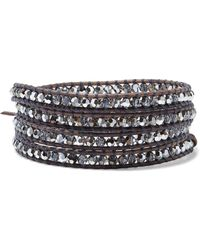 Chan Luu - Silver-tone, Leather And Crystal Wrap Bracelet - Lyst
