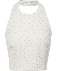 Rebecca Vallance Holliday Cropped Polka-dot Linen-blend Halterneck Top Ivory - White
