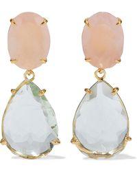 Bounkit Convertible 14-karat Gold-plated Green Amethyst And Rose Quartz Earrings Blush - Multicolour
