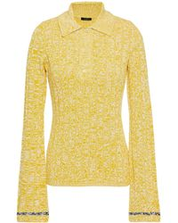 JOSEPH Mélange Ribbed-knit Polo Shirt Yellow