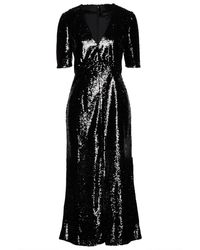 Saloni Gathered Sequined Tulle Midi Dress - Black