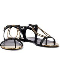 Donna Karan Kaden Embellished Lizard-effect Leather Slingback Sandals - Black
