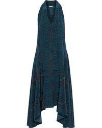 Joie Breeda Asymmetric Tie-neck Snake-print Silk Crepe De Chine Midi Dress - Blue
