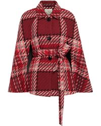 Kate Spade Belted Checked Wool-blend Cape Claret - Red