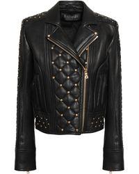 Balmain Studded Quilted Leather Biker Jacket Black