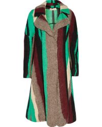 Marni - Striped Wool And Silk-blend Coat - Lyst