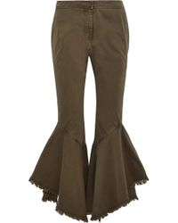 Cinq À Sept - Wysteria Frayed Cotton-twill Kick-flare Trousers Army Green - Lyst