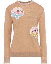 Peter Pilotto Floral-appliquéd Wool Sweater Camel - Multicolor