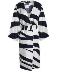 Raoul - Zebra-print Silk-faille Wrap Dress Midnight Blue - Lyst