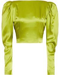16Arlington Cropped Gathered Silk-satin Wrap Top Lime Green