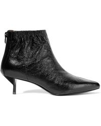 3.1 Phillip Lim Woman Blitz Textured Glossed-leather Ankle Boots Black